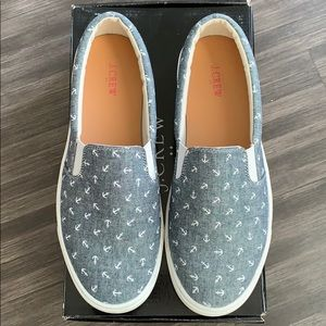 J. Crew anchor chambray slip on sneakers. Size 7